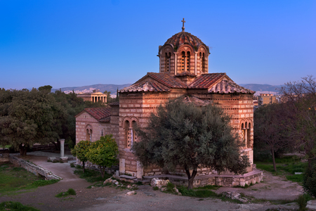 Church of the Holy Apostles and Temple of Hephaestus in Agora in the Morning, Athens, Greece