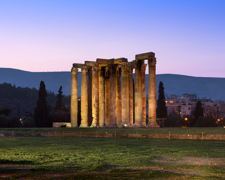 Ruins of Temple of Olympian Zeus in the Morning, Athens, Greece Фото со стока