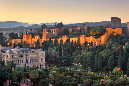 Aerial View of Malaga in the Evening, Malaga, Andalusia, Spain Stock Photo