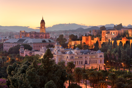 MALAGA, SPAIN - NOVEMBER 28, 2016: Aerial View of Malaga in the Evening, Spain. With a population of 569,130 in 2015, Malaga is the second-most populous city of Andalusia.