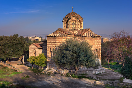 Church of Holy Apostles and Temple of Hephaestus in Agora, Athens, Greece Фото со стока