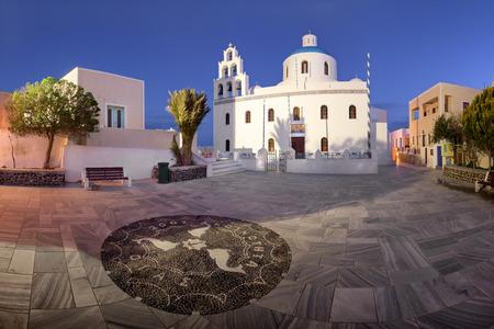 Panorama of Panagia Platsani Orthodox Church in the Morning, Oia, Santorini, Greece Stock Photo