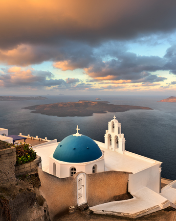 Saint Theodore Church in the Morning, Fira, Santorini, Greece Stock Photo