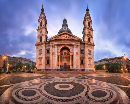 Panorama of Saint Stephen Basilica in the Morning, Budapest, Hungary Фото со стока