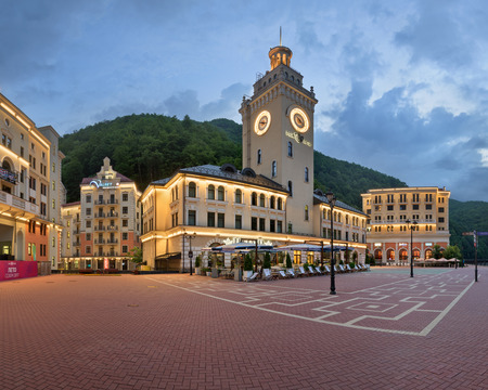 SOCHI, RUSSIA - JUNE 22, 2017: Panorama of Rosa Square in the Morning, Rosa Khutor, Sochi, Russia. Rosa Khutor constructed from 2003 to 2011 and hosted the alpine skiing events for the 2014 Winter Olympics.