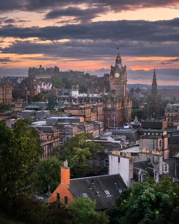 View of Edinburgh from Calton Hill at Sunset, Scotland, United Kingdom