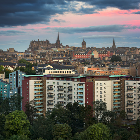 giles: View of Edinburgh from Holyrood Park in the Morning, Scotland, United Kingdom Stock Photo
