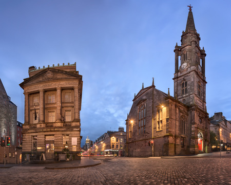 EDINBURGH, UNITED KINGDOM - SEPTEMBER 12, 2017: Panorama of Tron Kirk in the Morning, Edinburgh, Scotland. The Tron Kirk is a former principal parish church in Edinburgh, it was built in the 17th century and closed as a church in 1952.