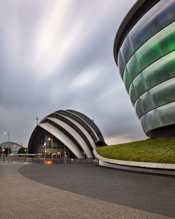 GLASGOW, UNITED KINGDOM - SEPTEMBER 10, 2017: Modern Buildings SEC Armadillo. The SEC Armadillo (originally known as the Clyde Auditorium) is an auditorium located in Glasgow, Scotland. Редакционное