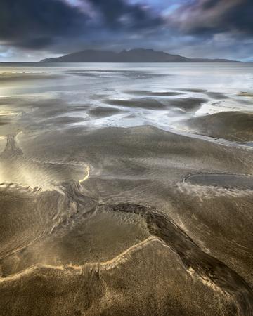 砂浜、マン島 Eigg, スコットランド, イギリス