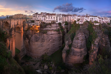 Panorama of Puente Nuevo Bridge in Ronda, Spain.