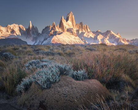 Fitz Roy and Cerro Torre in the Morning, Los Glaciares National Park, Argentina 写真素材