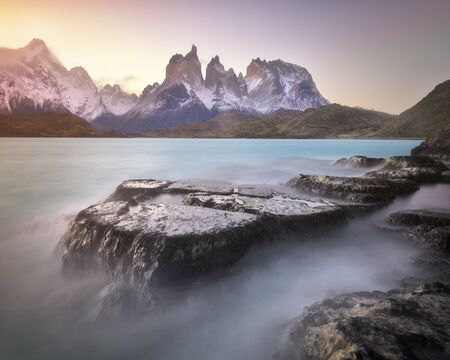 Pehoe Lake and Cuernos Peaks in the Evening, Torres del Paine National Park, Chile 写真素材