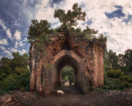 Ancient Temple Ruins in Inwa, Myanmar
