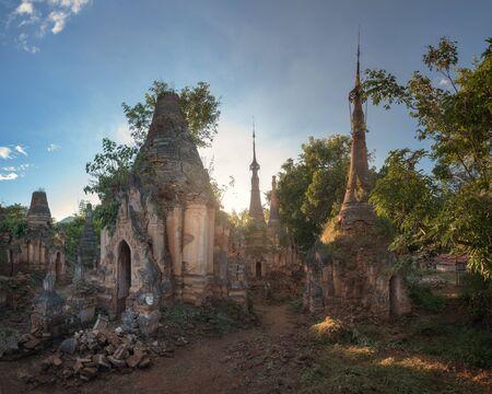 Shwe Inn Dein Pagodas in the Evening, Inle Lake, Myanmar