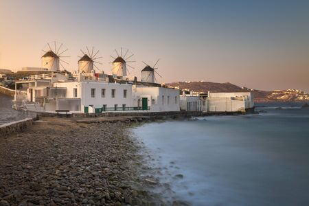 Old Windmills in Chora at Sunrise, Mykonos, Greece 写真素材