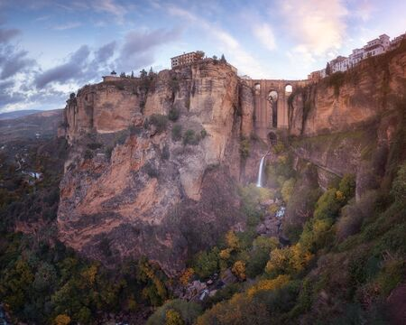 Panorama of Puente Nuevo Bridge and Ronda in the Morning, Andalusia, Spain