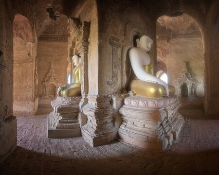Panorama of Ancient Temple Interior with the Seated Buddhas in Bagan, Myanmar