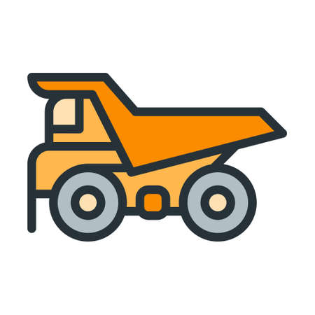 Dump Truck icon in filled outline style