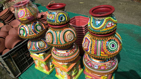 scenic view of earthen or clay pots
