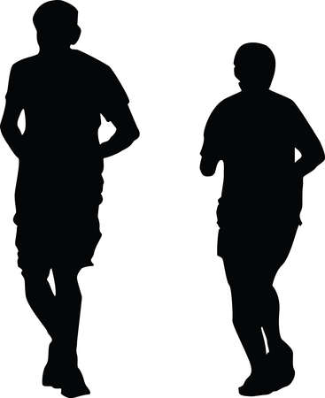 silhouette of man woman jogging vector illustration