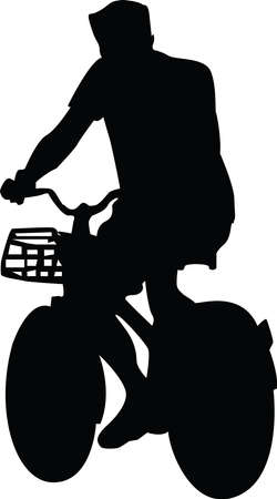 silhouette of man bicycling vector illustration
