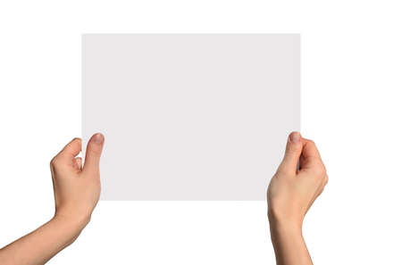 White piece of paper in hands photo