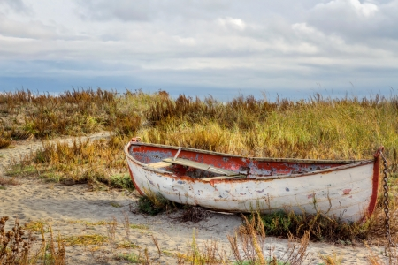 Old rusty boat at seashore by autumn colored tall grass Stock Photo