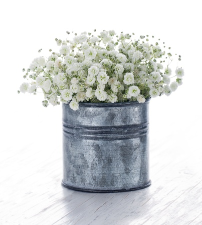 Bouquet of white gypsophila, babys breath flowers, on wooden background