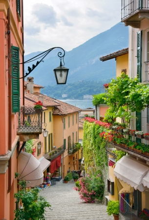 Picturesque small town street view in Bellagio, Lake Como Italy Stock Photo