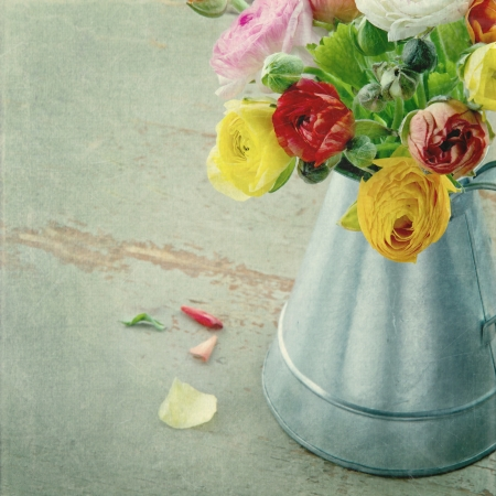 Bunch of colorful ranunculus in a metal can on green wooden textured background Stock Photo - 18837587