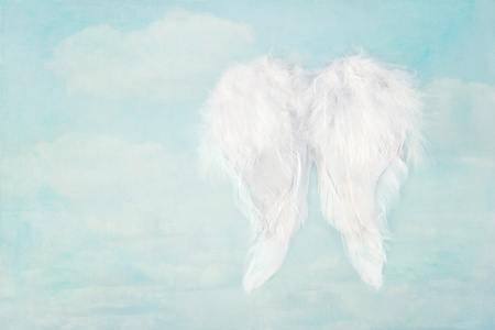 White angel wings on textured blue sky background, with copy space