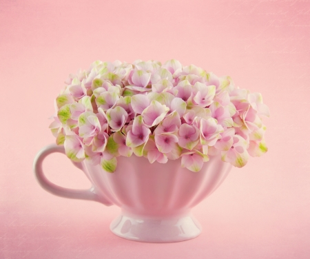 Pink hydrangea flowers in a shabby chic mug on pastel vintage background with copy space photo