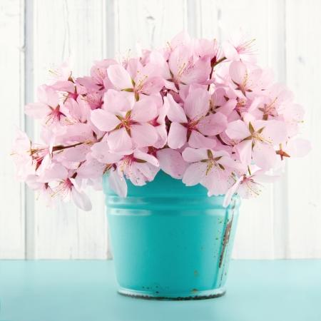 Pink Kirschblüte Blumenstrauß auf hellblauem Vintage und weißen hölzernen Hintergrund Standard-Bild - 19979134