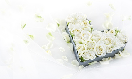 bridal bouquet: White wedding roses in an old vintage metal heart shaped tray on dreamy lace background with floral petals Stock Photo