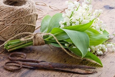 antique scissors: Bouquet di fiori di primavera lilys della valle con le vecchie forbici antiche arrugginiti e palla di spago marrone Archivio Fotografico