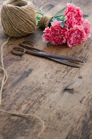 antique scissors: Bouquet di fiori di garofano rosa con le vecchie forbici antiche arrugginiti e palla di spago marrone
