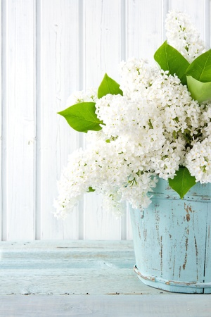 Bouquet of white lilac spring flowers in a wooden blue vase on light shabby chic background