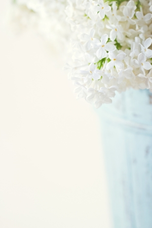 Bouquet of white lilac spring flowers in a wooden blue vase on light shabby chic background Stock Photo - 20911012