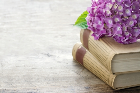 Old books with romantic pink flowers on wooden background and copy space, vintage editing