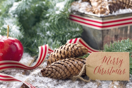 apple christmas: Brown pine cones and green spruce tree branches with snow in a decorative rustic Christmas setting on vintage wooden background