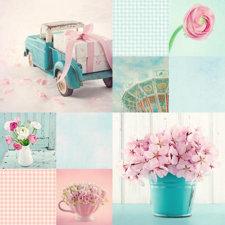 꽃과 빈티지 장식 아이템과 배경의 핑크와 라이트 블루 톤 콜라주