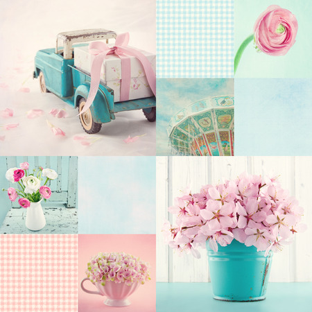 Pink and light blue tone collage of flowers and vintage decorative items and backgrounds Stock Photo