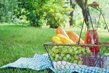 blue blanket: Vintage picnic basket with fruit, bread and juice on blue blanket in a green summer garden