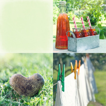Summer collage of strawberry juice and vintage decorative items and backgrounds with copy space with textured editing photo