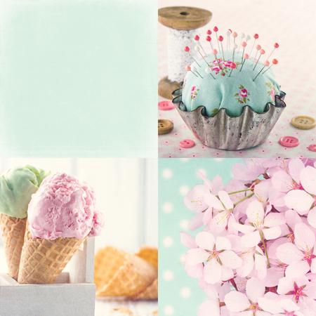 Pink and light blue tone collage of flowers and vintage decorative items and backgrounds with copy space and textured scratchy editing photo
