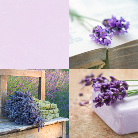 Lavender tone collage of decoratice vintage items and backgrounds with copy space and textured scratchy editing photo
