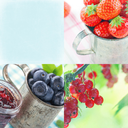 Summer collage of berries and vintage decorative items and backgrounds with copy space with textured editing photo