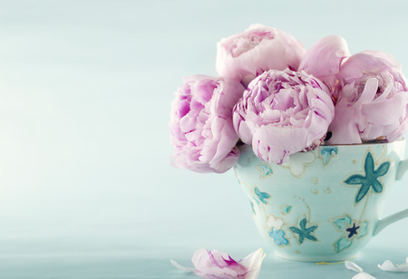 Pink peony flowers in a decorative cup on light blue vintage background with hazy vintage editing Foto de archivo