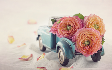 Old antique toy truck carrying a roses on romantic lace background Banco de Imagens